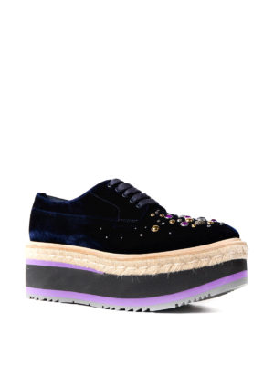 Prada: court shoes online - Embellished velvet wedge sneakers