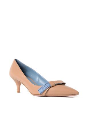 Prada: court shoes online - Etiquette bow nude goatskin pumps