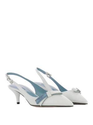 Prada: court shoes online - Etiquette bow white slingback pumps