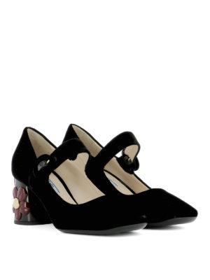 Prada: court shoes online - Flower heel velvet Mary Janes