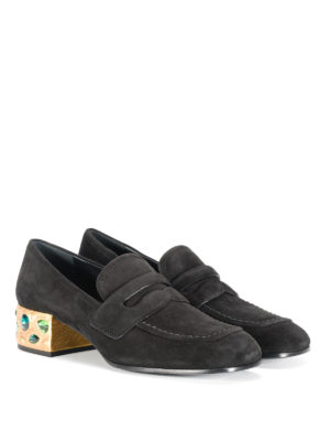 Prada: court shoes online - Jewel heel suede court shoes