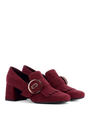 Prada: court shoes online - Loafers-inspired suede pumps