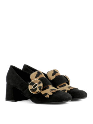 Prada: court shoes online - Pony hair insert suede pumps