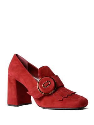 Prada: court shoes online - Suede fringed pumps
