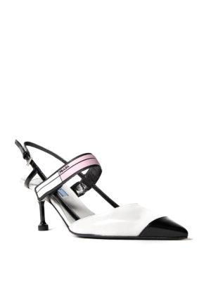 Prada: court shoes online - Two-tone brushed leather slingbacks