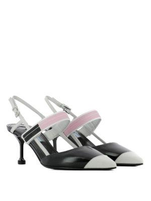 Prada: court shoes online - Two-tone glossy leather slingbacks