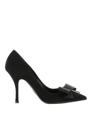 Prada: court shoes - Pointy suede pumps with bow