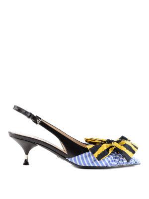 PRADA: scarpe décolleté - Slingback a righe con fiocco