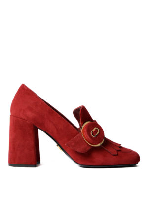 Prada: court shoes - Suede fringed pumps