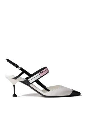 Prada: court shoes - Two-tone brushed leather slingbacks