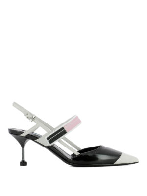 Prada: court shoes - Two-tone glossy leather slingbacks