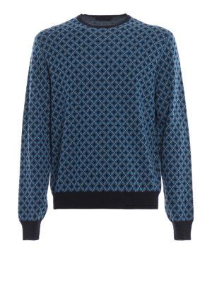 PRADA: maglia collo rotondo - Girocollo blu in lana a rombi