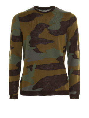 Prada: crew necks - Camu wool blend sweater