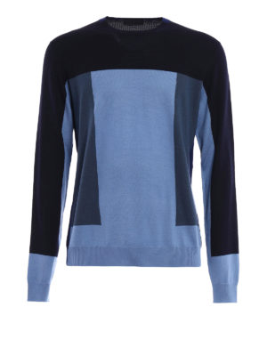Prada: crew necks - Colour block wool crewneck