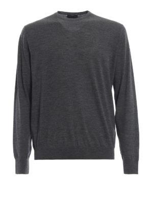 PRADA: maglia collo rotondo - Pull girocollo grigio in lana pettinata