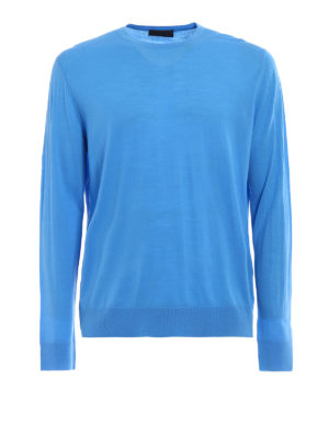 Prada: crew necks - Combed wool crewneck sweater