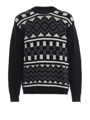 PRADA: maglia collo rotondo - Pull bianco e nero in lana jacquard a scacchi