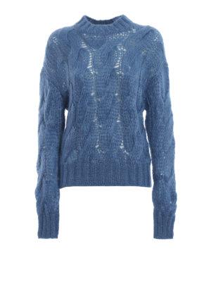 PRADA: maglia collo rotondo - Pull azzurro in misto mohair a trecce