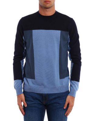 Prada: crew necks online - Colour block wool crewneck
