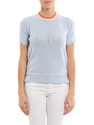 Prada: crew necks online - Destroyed effect knitted crewneck