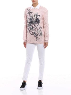 Prada: crew necks online - Printed cashmere crewneck