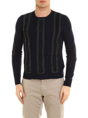 Prada: crew necks online - Suede appliques sweater