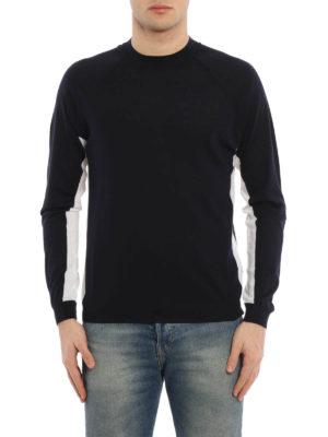 Prada: crew necks online - Two-tone combed wool sweater