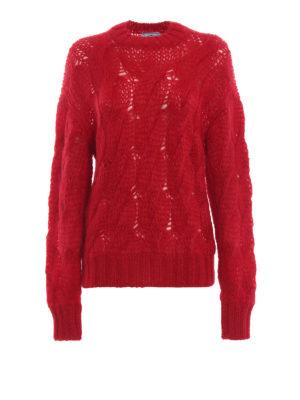 PRADA: maglia collo rotondo - Pull rosso in misto mohair a trecce