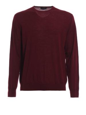 PRADA: maglia collo rotondo - Maglia in pura lana pettinata amaranto