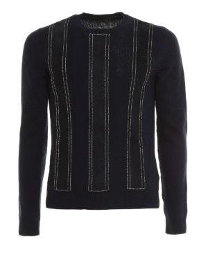 Prada: crew necks - Suede appliques sweater