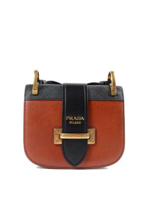 Prada: cross body bags - Cahier two-tone crossbody bag