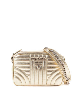 PRADA: borse a tracolla - Tracolla Diagramme soft color oro