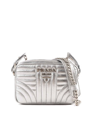 PRADA: borse a tracolla - Tracolla Diagramme soft color argento