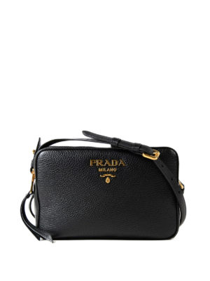 Prada: cross body bags - Hammered leather cross body bag
