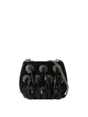 Prada: cross body bags - Leather fringed cross body bag