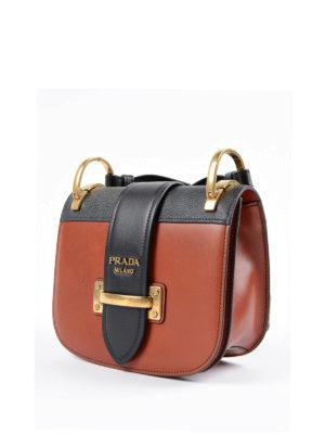 Prada: cross body bags online - Cahier two-tone crossbody bag