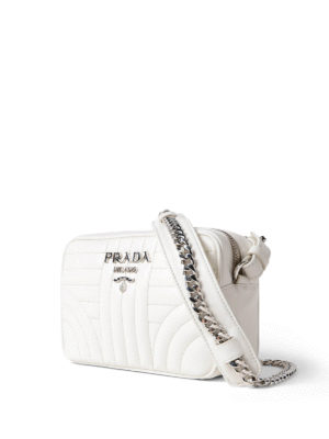 Prada: cross body bags online - Diagramme soft white crossbody
