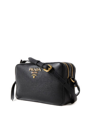 Prada: cross body bags online - Hammered leather cross body bag
