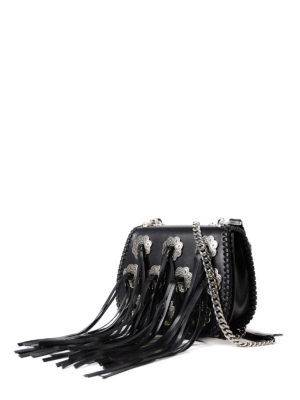 Prada: cross body bags online - Leather fringed cross body bag