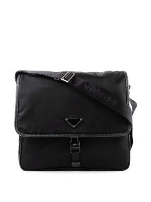 PRADA: borse a tracolla - Borsa in nylon con profili in saffiano