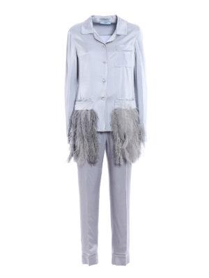 Prada: dinner suits - Feathers enver satin dinner suit