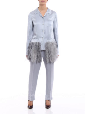 Prada: dinner suits online - Feathers enver satin dinner suit