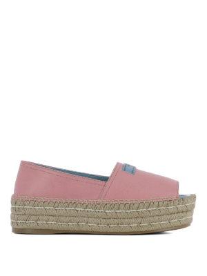 Prada: espadrilles - Jute wedge pink leather espadrilles