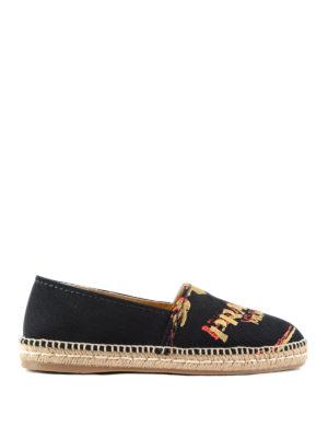Prada: espadrilles - Logo embroidery slip on shoes