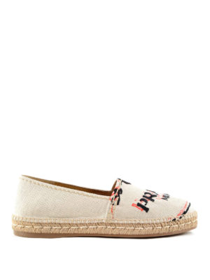 Prada: espadrilles - Logo embroidery slip on shoes