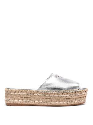 Prada: espadrilles - Metallized nappa platform sandals