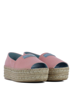 Prada: espadrilles online - Jute wedge pink leather espadrilles