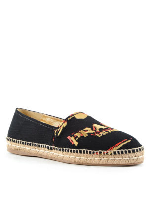 Prada: espadrilles online - Logo embroidery slip on shoes