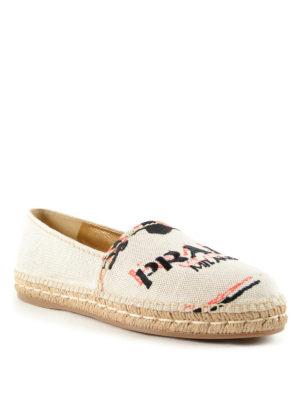 Prada: espadrilles online - Logo embroidery slip on shoes