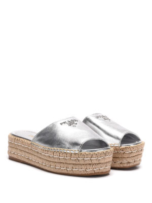 Prada: espadrilles online - Metallized nappa platform sandals